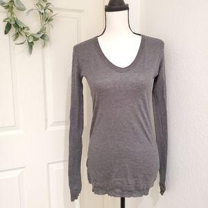 INHABIT Ruffle {RARE} Cotton Sweater Tall Long, Sm